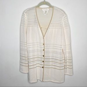 Escada ivory gold striped button up cardigan